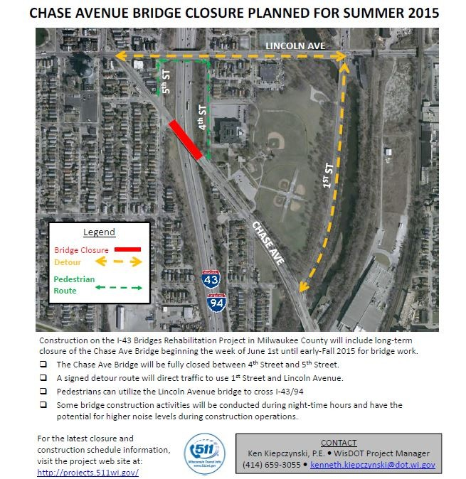 Chase Avenue Bridge closure planned for summer 2015 – I-43
