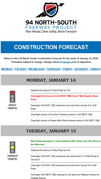 Construction Forecast – I-94 North-South Freeway Project