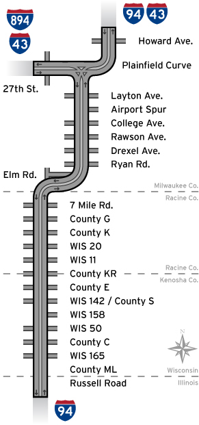 Map Of Improvements I 94 North South Freeway Project