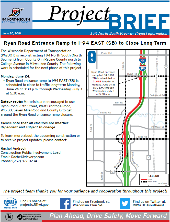 Ryan Road Interchange – I-94 North-South Freeway Project