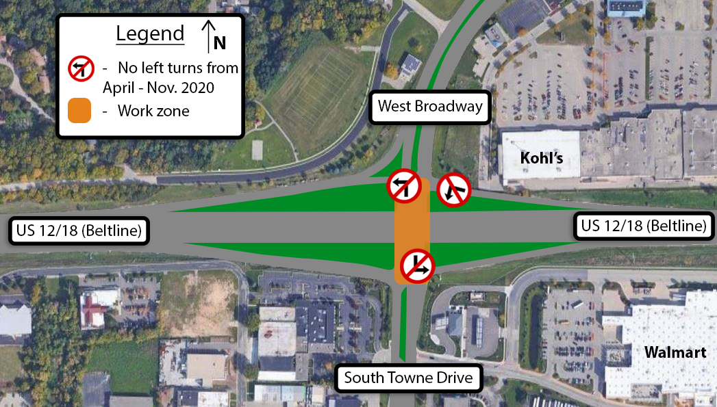Map of turn restrictions