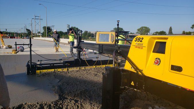 image of laser screed paving machine