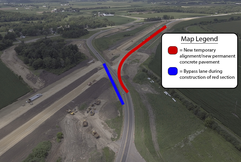 map of temporary bypass lane during construction of new road