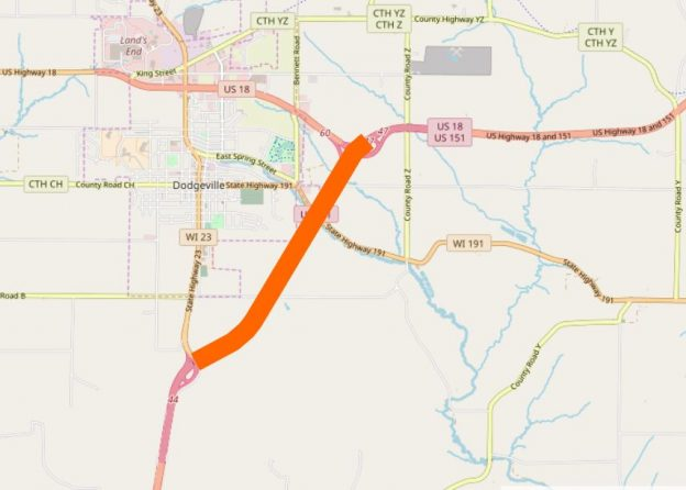 Map of US 151 that will be reconstructed