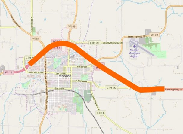 Map showing the area of WIS 11 under construction