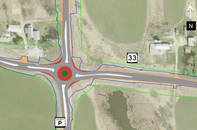 Image of proposed roundabout at WIS 33/County P Intersection