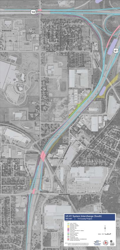 Improved Interchanges  WIS  TriCounty Project - Us 441 map
