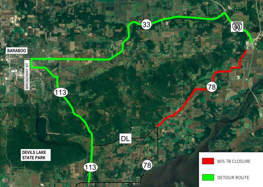 map of detour route