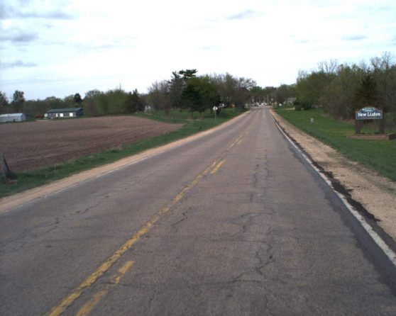Image of existing WIS 80 roadway entering New Lisbon